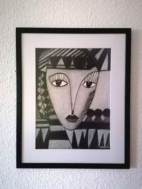Blick, Schwarz, Frau, Malerei