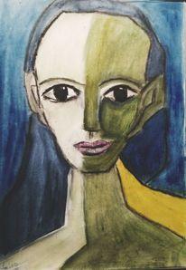 Blau, Kohlezeichnung, Zeichnungen, Studie