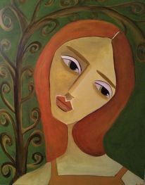 Verträumt, Oliv, Mädchen, Malerei