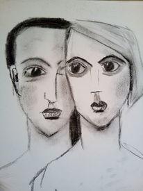 Paar, Frau, Mann, Kohlezeichnung