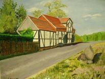 Landschaft, Ölmalerei, Sommer, Dorf