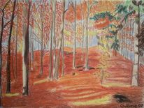 Rot, Pastellmalerei, Landschaft, Herbst