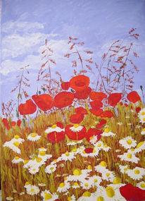 Sommer, Acrylmalerei, Landschaft, Blumen