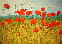 Malerei, Acrylmalerei, Landschaft, Sommer