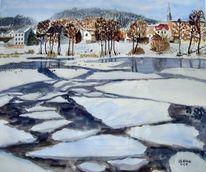 Eis, Oderberg, Aquarellmalerei, Malerei