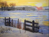 Sonnenaufgang, Natur, Winter, Aquarell