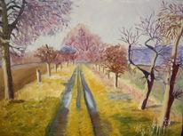 Landschaft, Ölmalerei, Weg, Baum