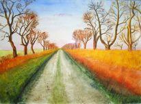 Malerei, Landschaft, Herbst, Weg