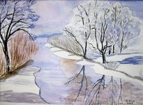 Winter, Fluss, Aquarellmalerei, Malerei