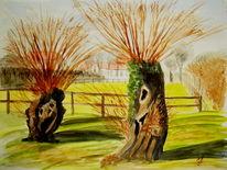 Malerei, Landschaft, Aquarellmalerei, Weiden