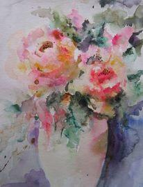 Aquarellmalerei, Nass, Schicht, Blumen