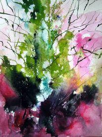 Nass, Baum, Aquarellmalerei, Aquarell