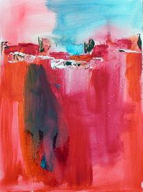 Malerei, Abstrakt, Dorf