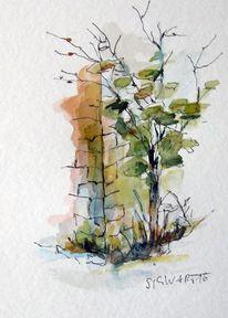 Baum, Skizze, Aquarellmalerei, Aquarell