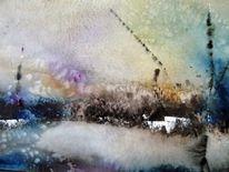 Abstrakt, Nass, Aquarellmalerei, Landschaft