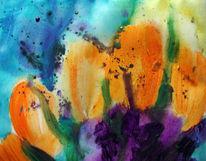 Malerei, Abstrakt, Tulpen