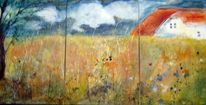 Schicht, Landschaft, Acrylmalerei, Malerei