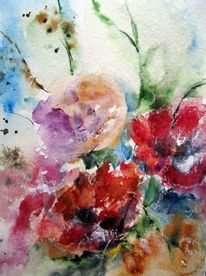 Blumen, Schicht, Nass, Aquarellmalerei