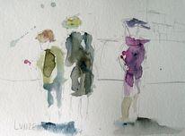 Aquarellmalerei, Menschen, Skizze, Aquarell
