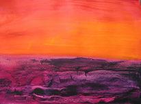Malerei, Abstrakt, Sonnenuntergang