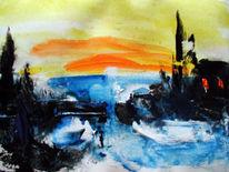 Abstrakt, Malerei, Wasser, Wintertag