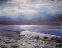 Landschaft, Abend, Meer, Malerei