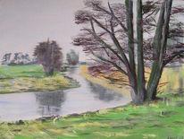 Ruhe, Fluss, Acrylmalerei, Landschaft