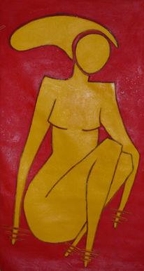Frau, Ölmalerei, Italien, Abstrakt