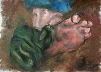 Fuß, Acrylmalerei, Falle, Figural