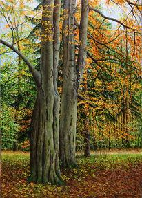 Gras, Blätter, Ölmalerei, Wald