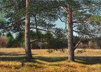 Ölmalerei, Sommer, Landschaft, Kiefer