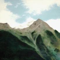 Himmel, Landschaft, Berge, Malerei