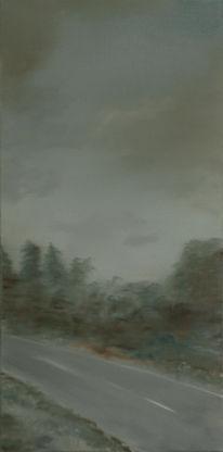 Landschaft, Straße, Malerei, Ölmalerei