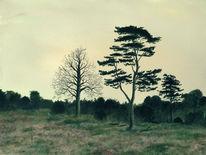 Baum, Landschaft, Ölmalerei, Malerei