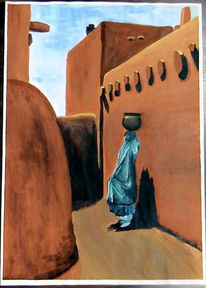 Rot, Pueblo, Frau, Dorf