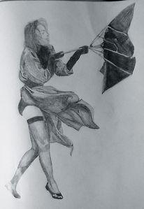 Wind, Frau, Sturm, Zeichnung