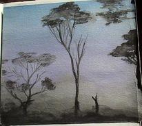Baum, Violett, Aquarellmalerei, Morgenstimmung