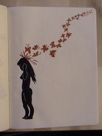 Schmetterling, Rot schwarz, Hoffnungslos, Frau