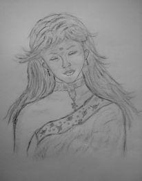 Portrait, Kohlezeichnung, Bleistiftzeichnung, Indien