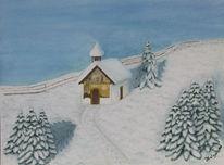 Aquarellmalerei, Kapelle, Schnee, Grafik