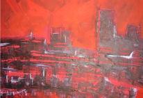 Rot, Abstrakt, Großstadt, Malerei