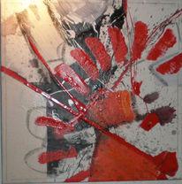 Malerei, Weiß, Kette, Rot schwarz