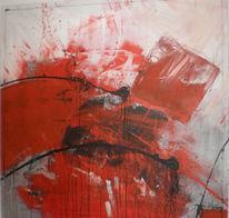 Ausbruch, Abstrakt, Rot, Malerei