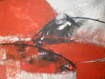 Malerei, Sturm, Rot, Ausbruch