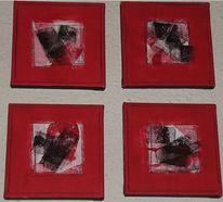 Malerei, Weiß, Rot schwarz, Abstrakt