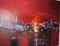 Malerei, Abstrakt, Skyline
