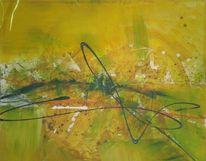 Gelb, Summertime, Malerei, Abstrakt