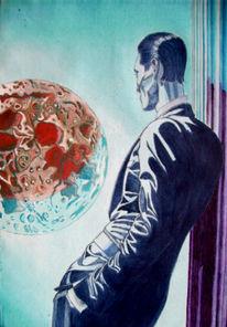 Mond, Monster, Abstrakt, Malerei