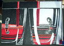 Zeichnung, Weiß, Rot schwarz, Skizze