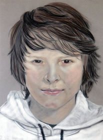 Portrait, Figural, Pastellmalerei, Junge